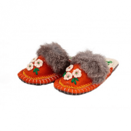 flower orange kosy felt slipper woolenstocks-1