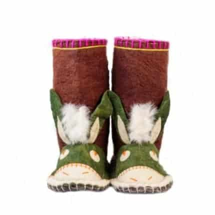 maroon hunter donkey felt boot woolenstocks