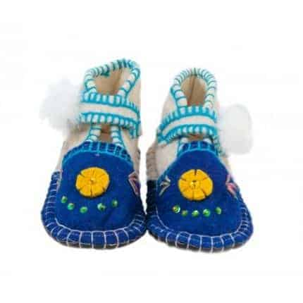 navy flower comfy felt boot woolenstocks