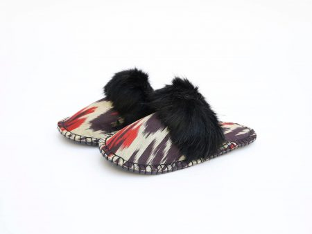 black ikat kosy slipper woolenstocks