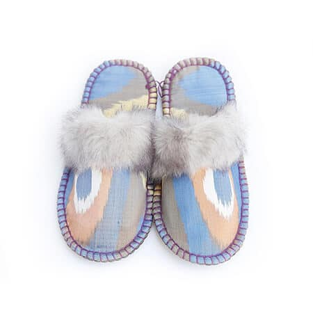 grey ikat kosy slipper woolenstocks