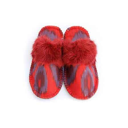 real red ikat kosy slipper woolenstocks