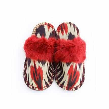 red and black ikat kosy slipper woolenstocks