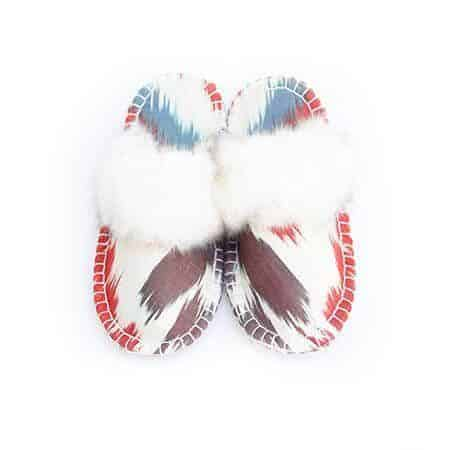 white ikat kosy slipper woolenstocks