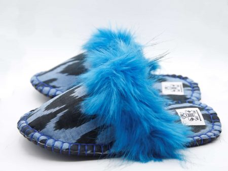 blue ikat kosy slipper woolenstocks
