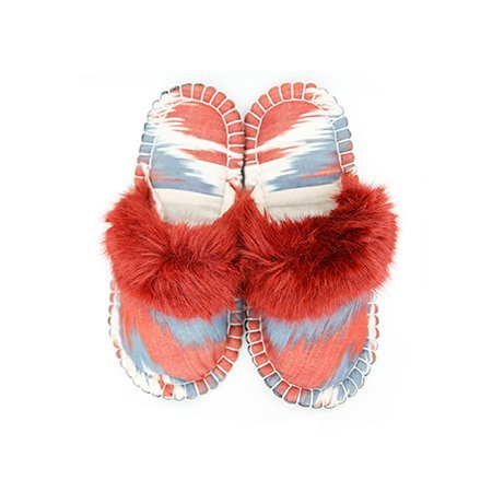grey red ikat kosy slipper woolenstocks 02