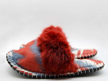 grey red ikat kosy slipper woolenstocks