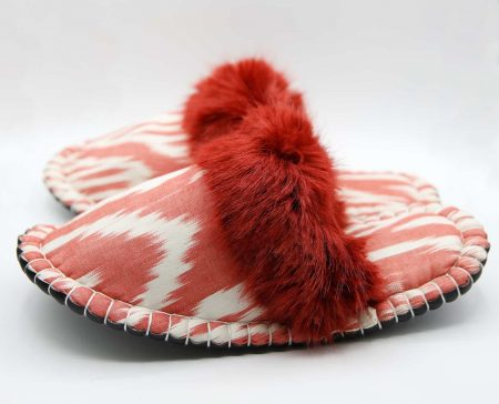 oldrose red ikat kosy slipper woolenstocks