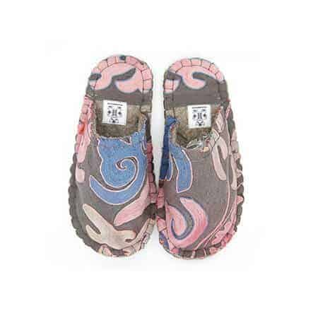 pink tribal lung slipper woolenstocks