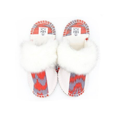 white red ikat kosy slipper woolenstocks