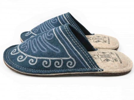 lungy navy felt slipper woolenstocks