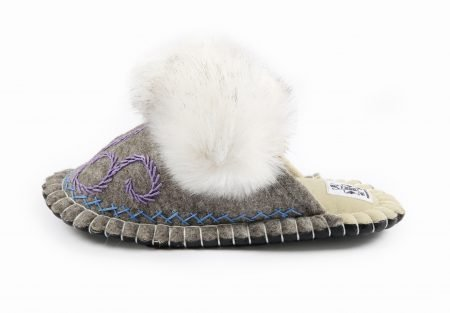 Boo Gray Felt Slipper