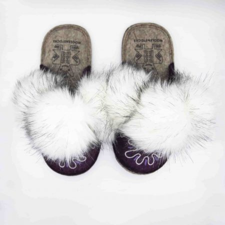 burgandy flower boo slipper woolenstocks 01