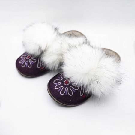 burgandy flower boo slipper woolenstocks 02